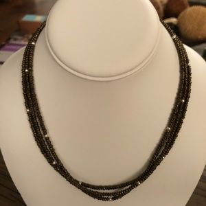 Silpada Bronze Metallic Glass & Silver Necklace